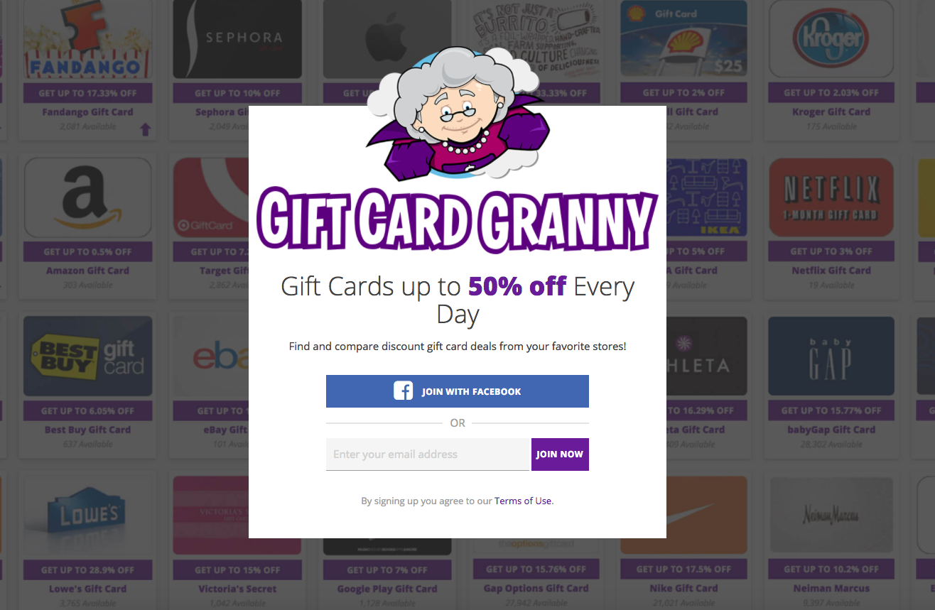 Gift Card Granny is the biggest discount gift card exchange on the web